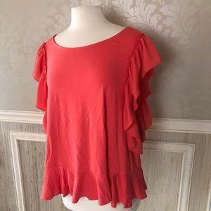 Vince Camuto xl new coral ruffle top NWT